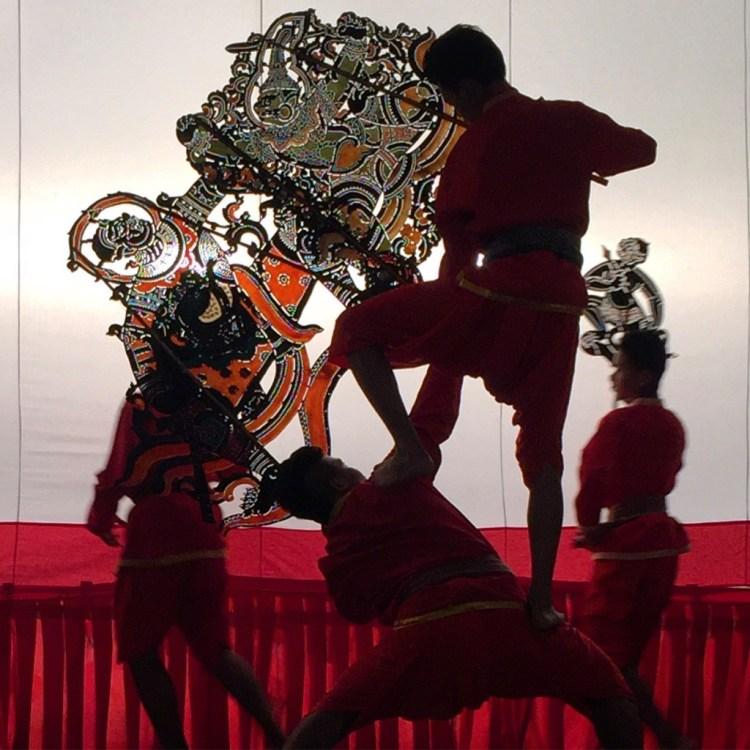 Shadow puppet performance at Wat Khanon