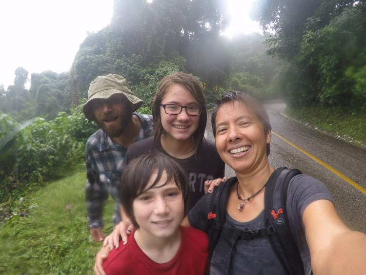 Everyone was giggly and happy on our walk back from Palenque to camp despite the rain.