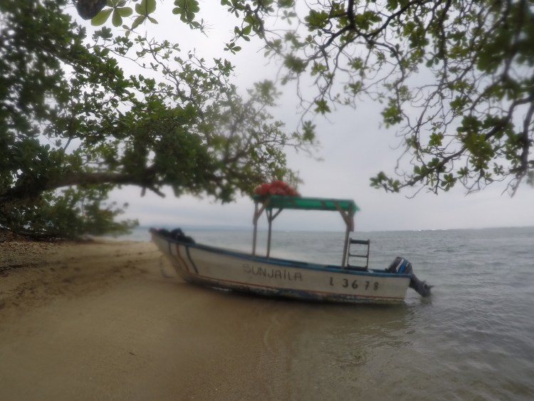 After our three-hour tour, we ended up on this deserted island where we ate some watermelon.