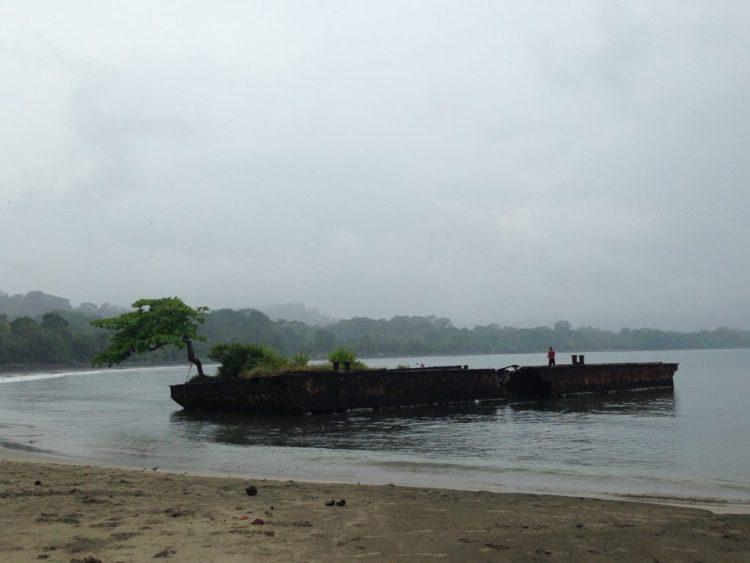 Sunken barge or fishing pier? Or both?