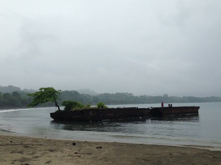 Sunken barge or fishing pier? Or both?