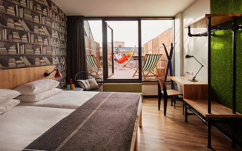 Twin Terrace Room at Generator Hostel Paris