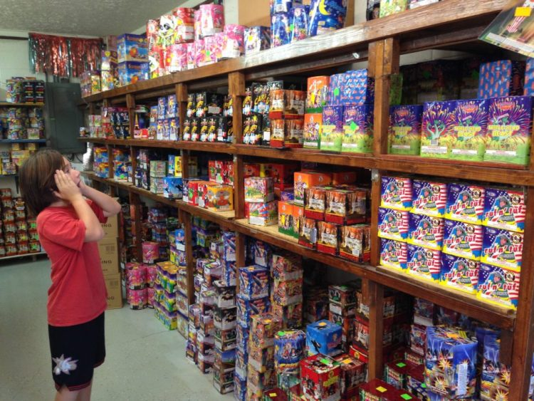 J is amazed at the shelves full of fireworks at a store in Tennessee.
