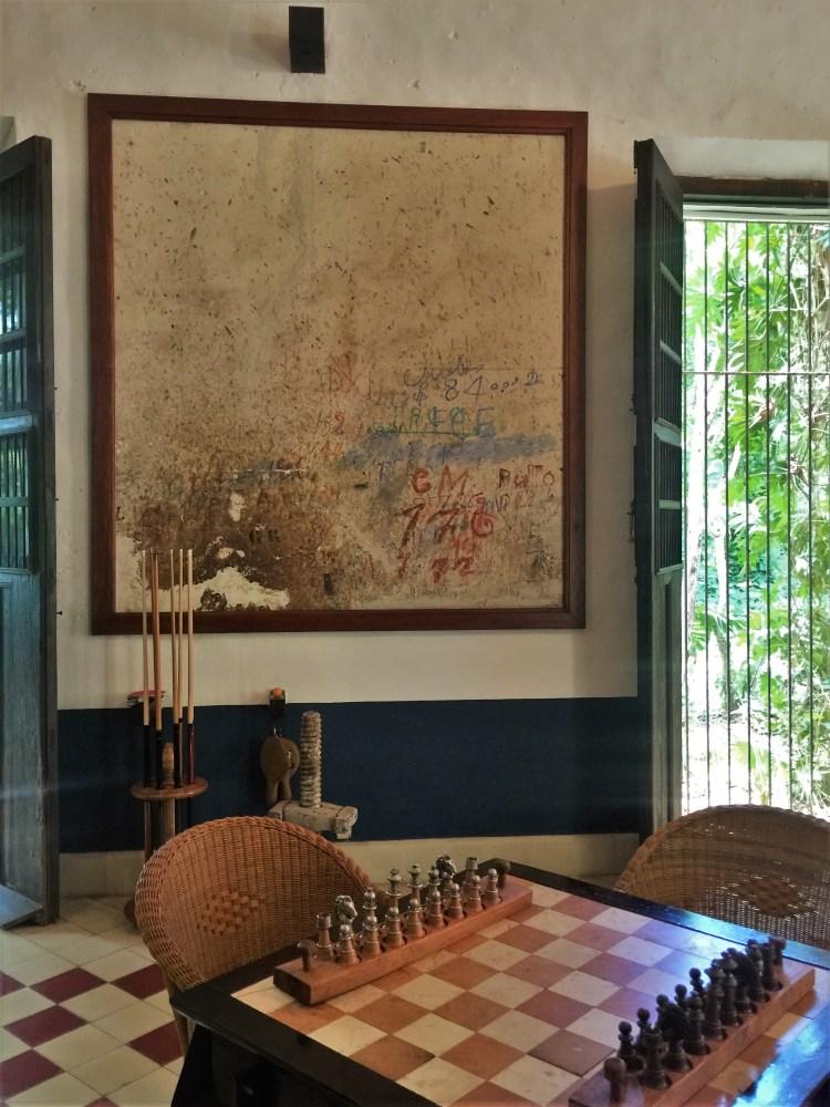 The game room at Hacienda Petac in Mexico's Yucatan