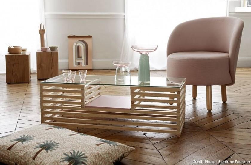 table basse palette et verre