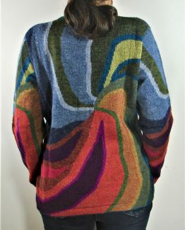 Gilet pour femme en laine d'alpaga col escalier