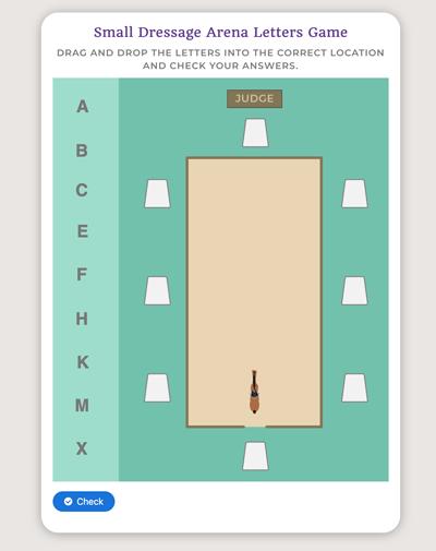 memorize dressage letters game