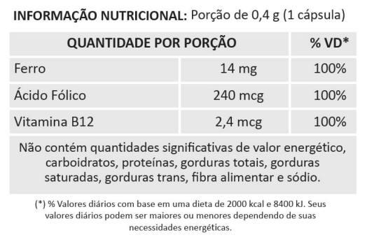 Suplemento de Ferro, Ácido Fólico e Vitamina B12