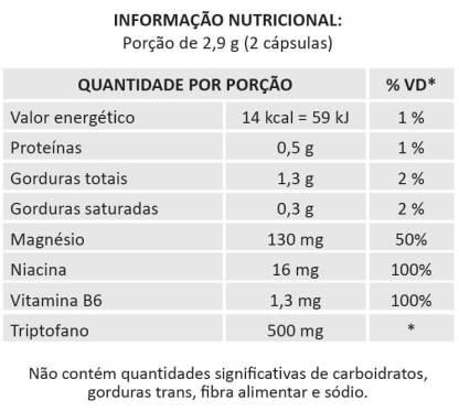 L-Triptofano tabela nutricional (melatonina)