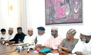 From left: Chris Ngige, Kabiru Gaya; George Mughalu; CPC Merger committee chairman, Garba Gadi; Chairman Merger committee,Tom Ikimi; Chairman, ANPP Merger Committee,  Ibrahim Shekarau; Segun Osaba and Ahmed Yerima during the unveiling of the new party name in Abuja Wednesday. Courtesy Vanguardngr.com