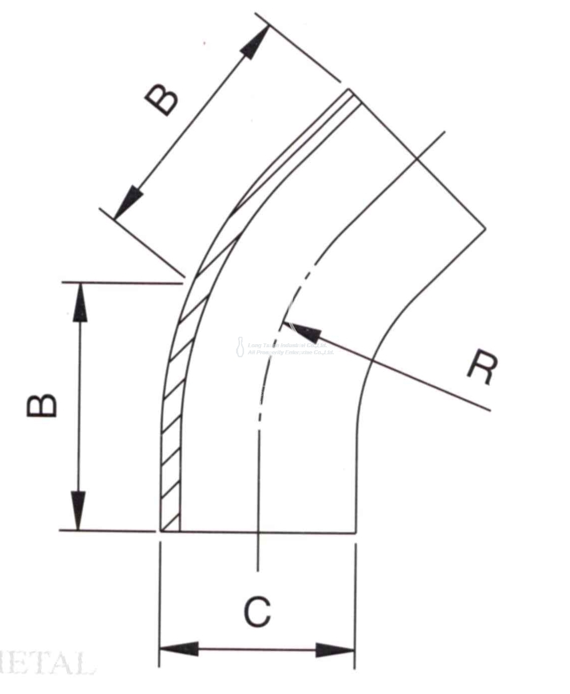3a 2ks 45 Deg Elbow Long Radius
