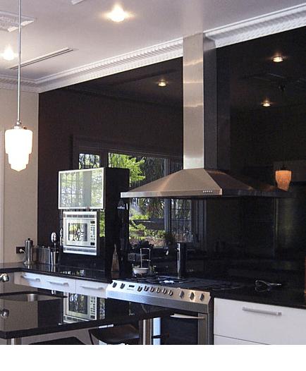 Full Length Wall Splash Back Colour Bak Painted Glass In Modern Kitchen  Design Counter Tops Northern Ireland
