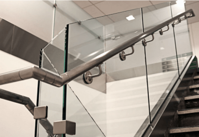 Modern Glass Staircase with Steel Hand rail in ireland