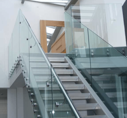 Quality assured modern full glass stair cases installed in northern ireland by skilled installers of glass and glazing balustrades.