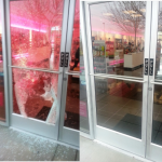 shop security door glass broken glass fix replaced and secured by northern ireland glazier commercial shop glass derry city
