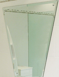 Decorative bathroom sink glass mirror with holes and safety baking made to any size shaped glass in northern ireland