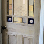 Deourative coloured textured glass leaded light for domestic internal doors lead lines and coloured glass designed and manufactured in derry city and northern ireland