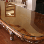 Full length Oak mahogany antique table protective decorative toughened glass curved table top made to measure supplied and installed in derry city northern ireland