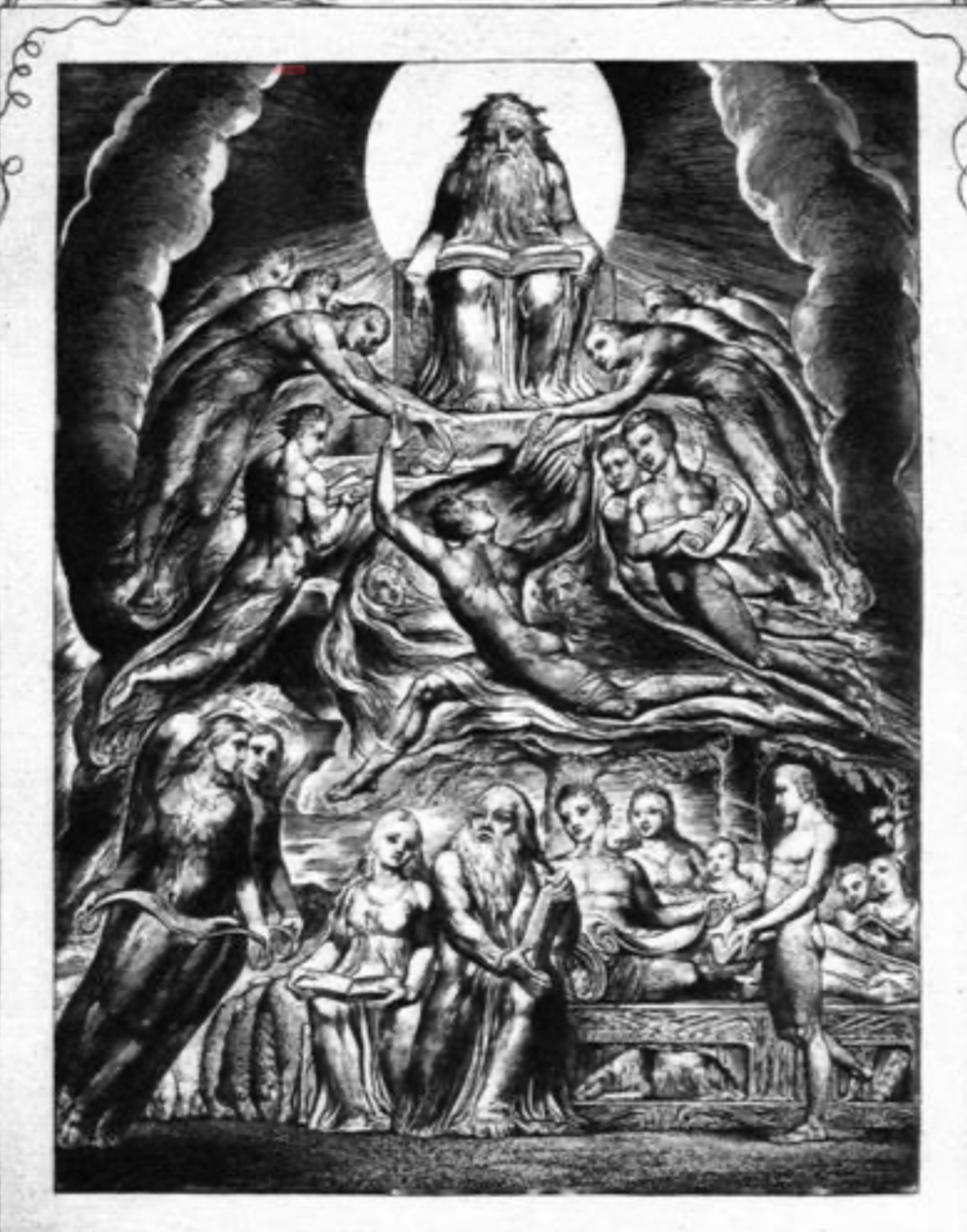 God and angels presiding over Job and his family