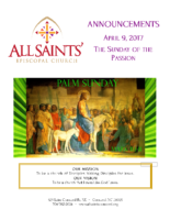 Announcements 04.09.2017 Palm Sunday