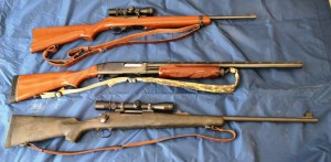 The Ruger 10/22 (top), Remington 870 pump action shotgun and Remington 700 bolt action rifle are my choices for the beginner.  (Leon Pantenburg photos)
