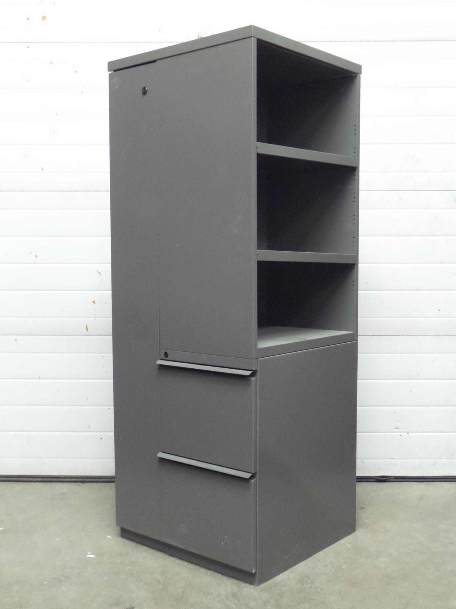 Grey Combination Wardrobe Storage And File Cabinet