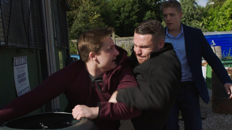 FROM ITV STRICT EMBARGO - NO USE BEFORE SUNDAY 16 OCTOBER 2016 Emmerdale - Ep 7643 Monday 17 October 2016 As a nervous Robert Sugden [RYAN HAWLEY] prepares to propose to Aaron Dingle [DANNY MILLER] he's stopped in his tracks by Lachlan White [THOMAS ATKINSON] who is suspicious of his relationship with Rebecca and threatens he will pretend he sexually abused him. Furious Aaron overhears and grabs Lachlan pushing his head under the water. Picture contact: david.crook@itv.com on 0161 952 6214 This photograph is (C) ITV Plc and can only be reproduced for editorial purposes directly in connection with the programme or event mentioned above, or ITV plc. Once made available by ITV plc Picture Desk, this photograph can be reproduced once only up until the transmission [TX] date and no reproduction fee will be charged. Any subsequent usage may incur a fee. This photograph must not be manipulated [excluding basic cropping] in a manner which alters the visual appearance of the person photographed deemed detrimental or inappropriate by ITV plc Picture Desk. This photograph must not be syndicated to any other company, publication or website, or permanently archived, without the express written permission of ITV Plc Picture Desk. Full Terms and conditions are available on the website www.itvpictures.com