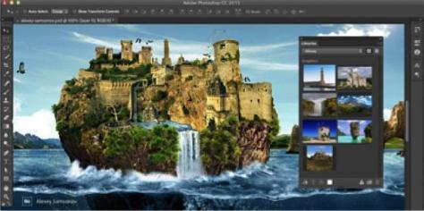 """Screenshot, wo die """"Adobe Stock""""-Bilder (siehe Kächsten rechts im Bild) in Photoshop als Bibliothek auftauchen"""
