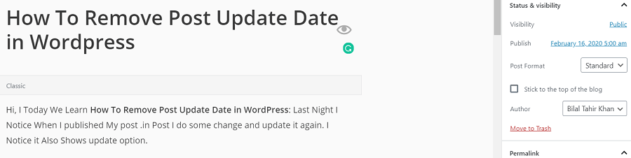 How To Remove Post Update Date in Wordpress