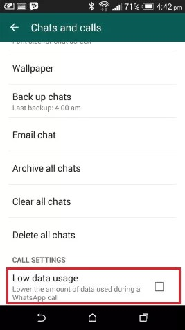 WhatsApp - Low Data Usage