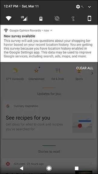 Google Opinion Rewards Notifications