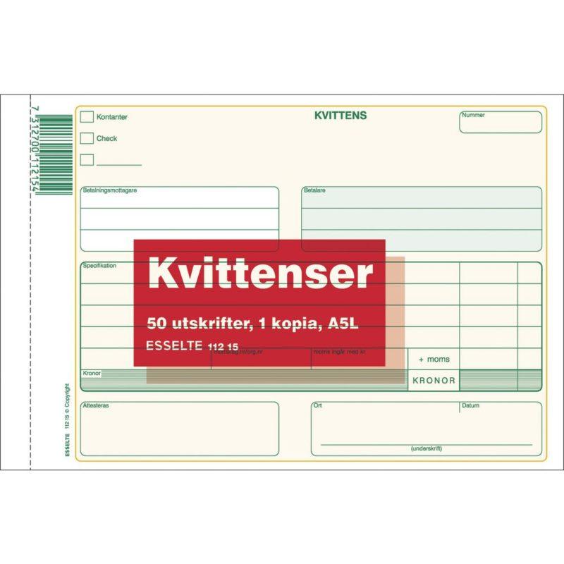 Allt För Kontor Esselte Blankett kvittens A5L 2x50 blad kopia