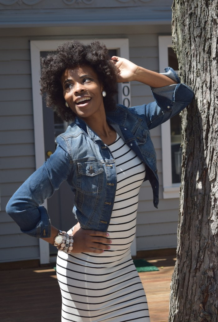 denim-jacket-striped-jersey-dress
