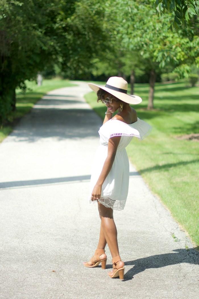 express-white-off-the-shoulder-ladder-lace-dress