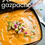 Easy Summer Gazpacho with just 10 ingredients! A fresh and flavorful starter for your next meal.