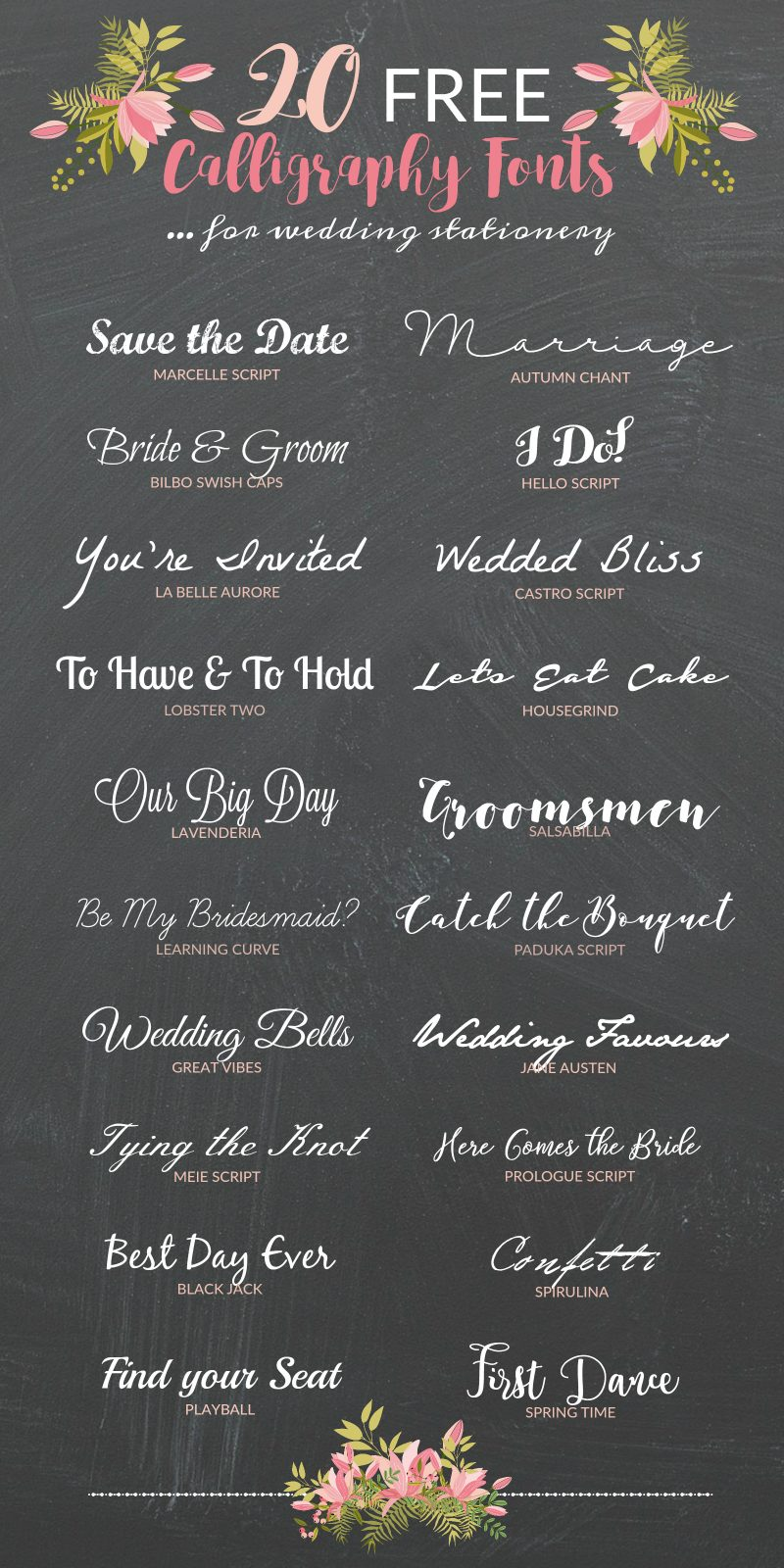 Free calligraphy fonts for drop dead gorgeous wedding