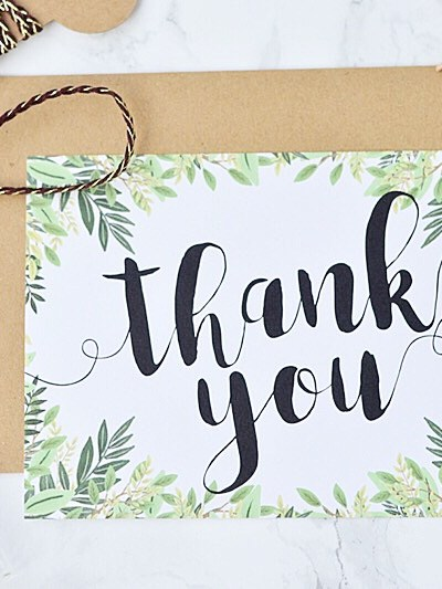 Printable Thank You Card… Green Botanical Prettiness!