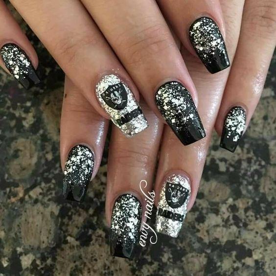 black and white glitter gel nail art christmas design winter nails