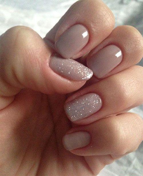 nude glitter nail design