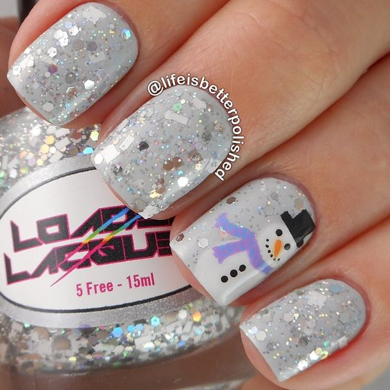 silver glitter white nail art christmas design