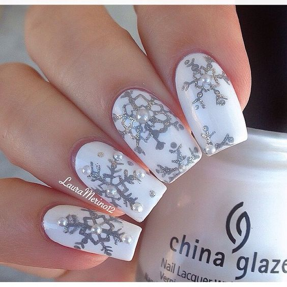 silver white nail art christmas design winter