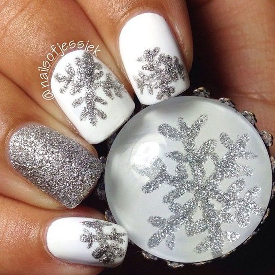 silver white nail art christmas design