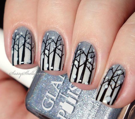 snowing trees gray white nail art christmas design