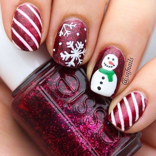 winter-nails-cute-designs-red-Snowman glitter