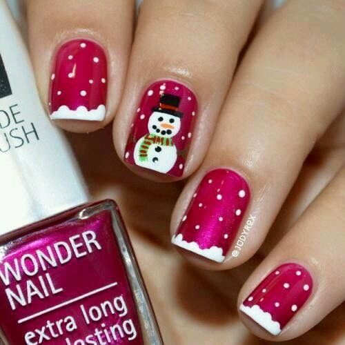 winter-nails-cute-designs-red-Snowman snow