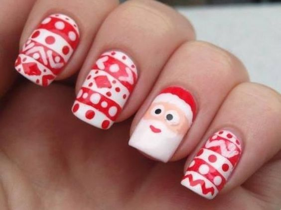 winter-nails-cute-designs-red-white Santa