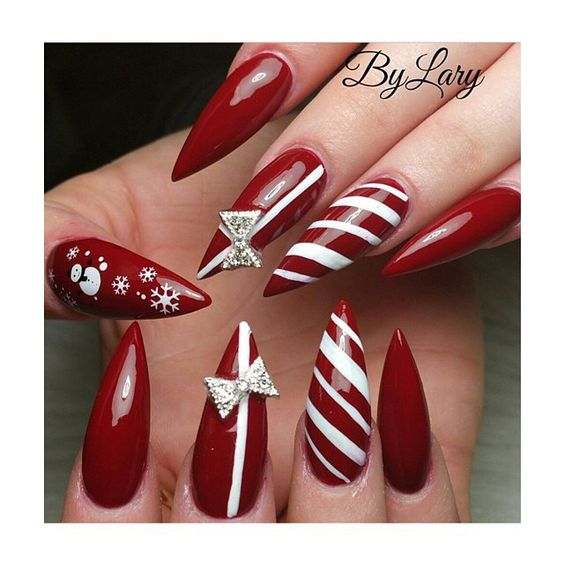 winter-nails-cute-designs-red-white gift Christmas art