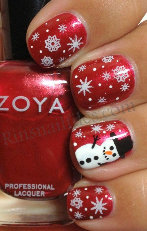 winter-nails-cute-designs-red-white snowman