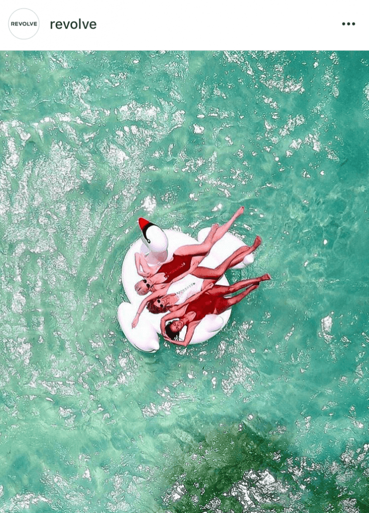 drone photoshoot with floatie