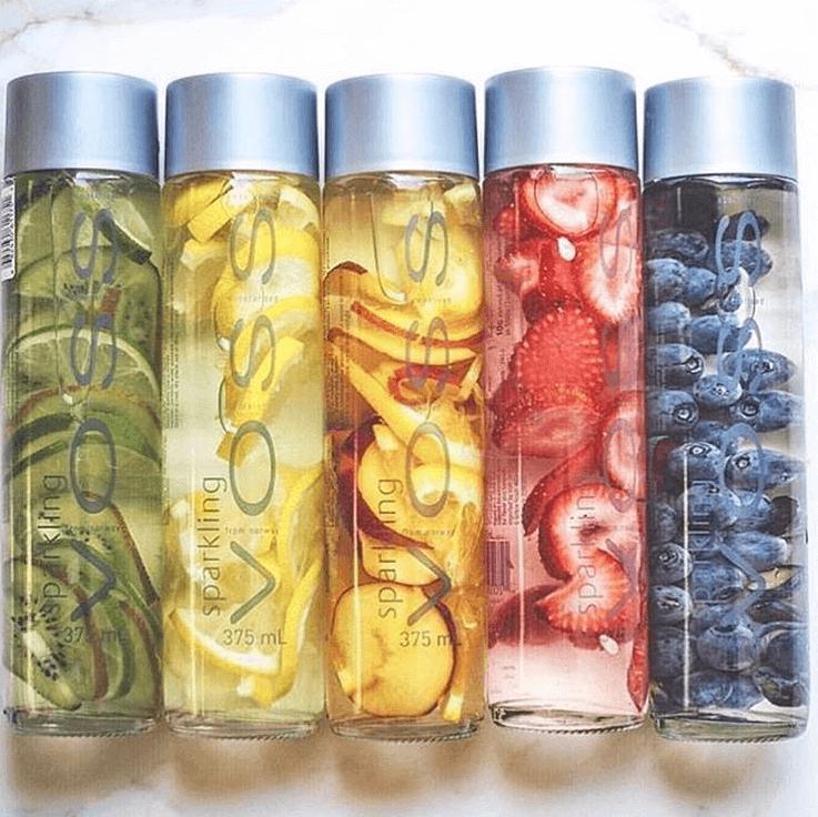voss water bottle fruits ideas